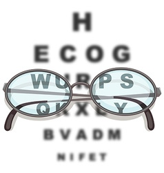 Pair of eyeglasses and reading chart vector