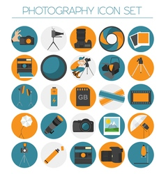 Photography icon set with photo camera equipment vector