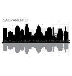 sacramento city skyline black and white vector image vector image