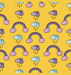 seamless pattern with rainbow vector image vector image