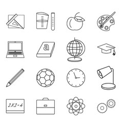 sixteen thin line icons for vector image vector image