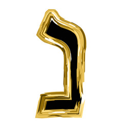 the golden letter of nun from the hebrew alphabet vector image vector image