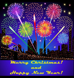Festive fireworks outside above the buildings vector