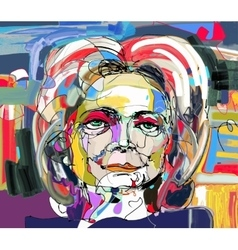 Original abstract digital painting of woman face vector