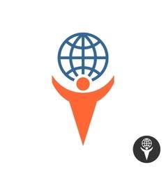 Man holding globe logo vector