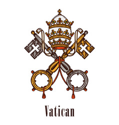 Vatican keys symbol coat of arms icon vector