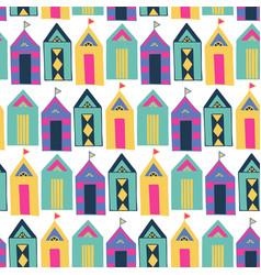 Beach cabin bright colorful geometric vector