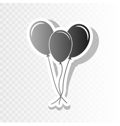 Balloons set sign  new year blackish icon vector