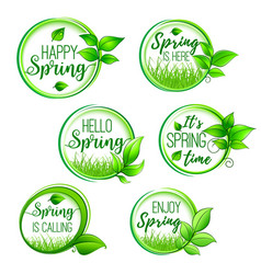 Green floral icons for hello spring design vector