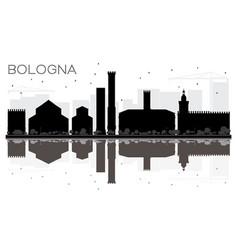 Bologna city skyline black and white silhouette vector