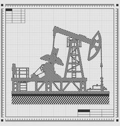 Blueprint of oil pump vector