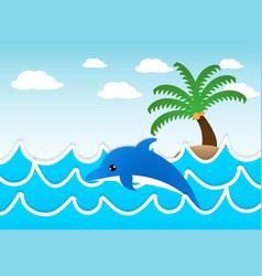 Dolphin jumping in the sea vector image