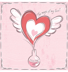 Pink valentine card with heart vector