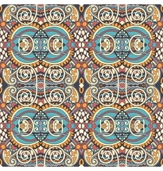 Geometry vintage floral seamless pattern ethnic vector