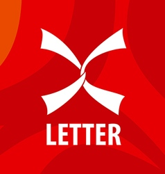 Logo white ribbons in the form of the letter x vector