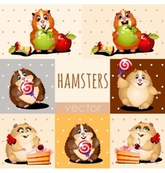 Happy hamsters with apple cake and candy vector
