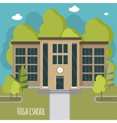 Beautiful high school facade educate theme vector