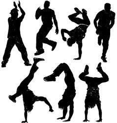 Silhouette of a man break dancing vector