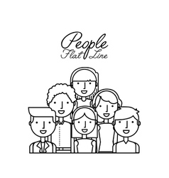 people flat line design vector image