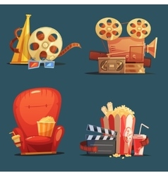 Cinema movie retro symbols cartoon set vector