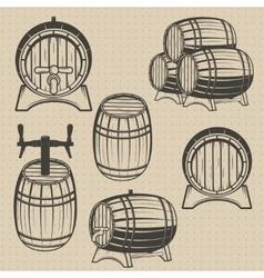 Set of barrels in vintage style vector