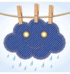 Rain cloud on a clothesline vector image