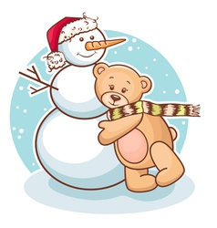 teddy and snowman vector image