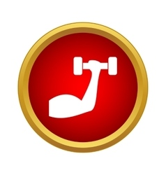Arm with dumbbell icon in simple style vector