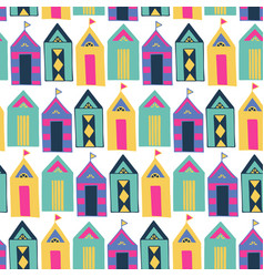 Beach cabin bright colorful geometric vector