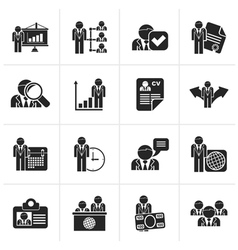 Black human resource and employment icons vector