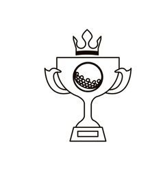 Black silhouette with trophy cup of golf and crown vector