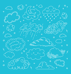 blue sky clouds icons set childrens sky vector image