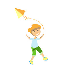 boy flying kite for vector image