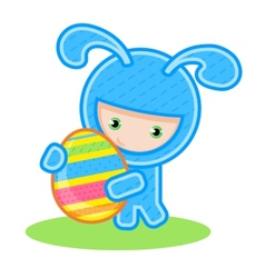 bunny with egg vector image vector image