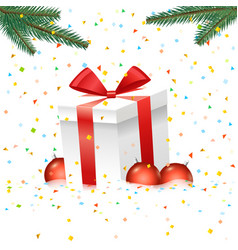 Christmas with gift box and color baubles vector