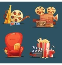 Cinema movie retro symbols cartoon set vector