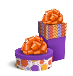 Colorful Violet and Orange Celebration Gift Boxes vector image vector image
