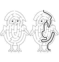 Easy chicken maze vector