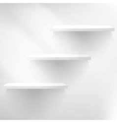 Empty white shelf hanging on a wall vector image vector image