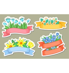 floral ribbons vector image vector image
