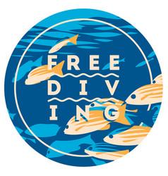 Free diving and snorkeling design concept and fins vector