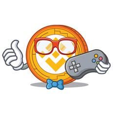 Gamer binance coin mascot catoon vector