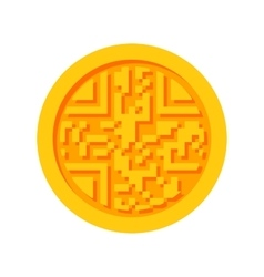 Golden cryptocurrency icon vector