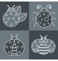 Gray ladybug with white stroke on background vector image