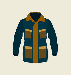 Green jacket winter icon on yellow background vector