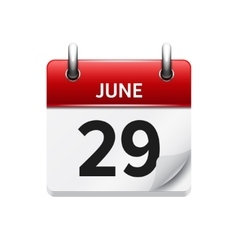 June 29 flat daily calendar icon date vector