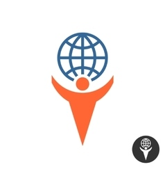 Man holding globe logo vector image vector image