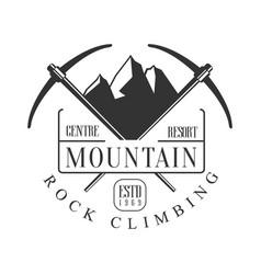 Mountain rock climbing centre resort logo vector