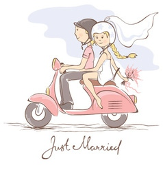 Newlyweds on a scooter vector image