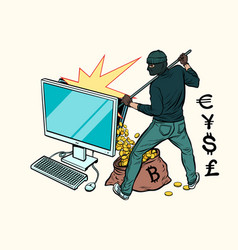 online hacker steals money from computer vector image